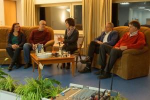 Die Diskussionsrunde: v.l.n.r. Frau Sitt (Bündnis 90/Grüne), Herr Hausmann (SPD), Frau Soboth, Herr Pöppler (CDU), Herr Schulte